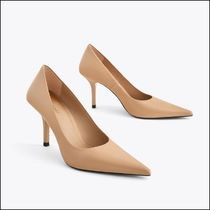 Uterque Casual Style Plain Leather Pin Heels Elegant Style