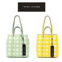 MARC JACOBS THE TAG TOTE Dots Casual Style 2WAY Leather Office Style Logo Totes