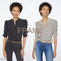 FRAME DENIM Leopard Patterns Casual Style Silk Puffed Sleeves