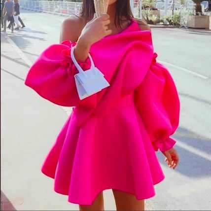 Short Flared Plain Party Style Puff Sleeves Dresses