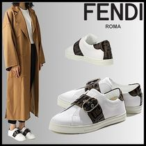 FENDI Rubber Sole Casual Style Street Style Plain Leather Logo