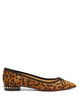 Christian Louboutin Leopard Patterns Suede Ballet Shoes