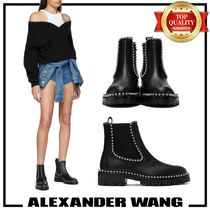 Alexander Wang Round Toe Plain Leather Ankle & Booties Boots