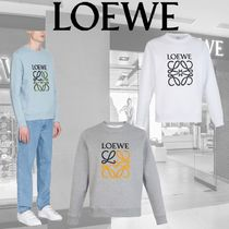 LOEWE Crew Neck Pullovers Long Sleeves Plain Cotton Sweatshirts