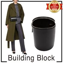 Building Block Casual Style Plain Leather Hip Packs