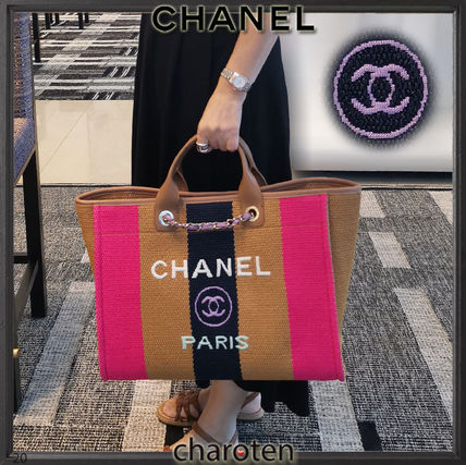CHANEL Totes Stripes Casual Style Unisex Calfskin Canvas Blended Fabrics