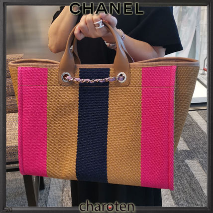 CHANEL Totes Stripes Casual Style Unisex Calfskin Canvas Blended Fabrics 4