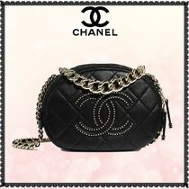 CHANEL Lambskin Studded 2WAY Chain Plain Leather Elegant Style