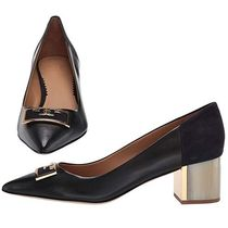 Tory Burch Round Toe Plain Leather Elegant Style Chunky Heels