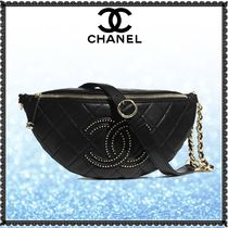 CHANEL Casual Style Lambskin Studded 3WAY Chain Plain Leather