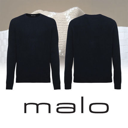 Crew Neck Cable Knit Pullovers Cashmere Long Sleeves Plain