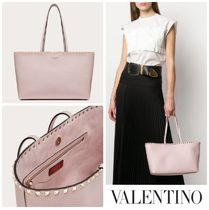 VALENTINO Casual Style Calfskin Studded A4 Plain Office Style