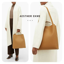 AESTHER EKME Casual Style A4 Plain Leather Office Style Elegant Style
