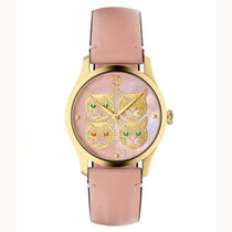 GUCCI Casual Style Unisex Leather Round Party Style Quartz Watches