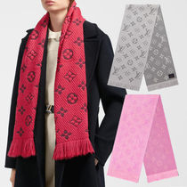 Louis Vuitton MONOGRAM Unisex Wool Logo Knit & Fur Scarves