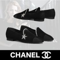 CHANEL Star Square Toe Plain Toe Casual Style Suede Plain Leather