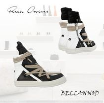 RICK OWENS Street Style Plain Leather Sneakers
