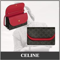 CELINE Triomphe Leather Logo Front Button Long Wallets