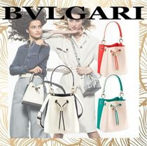 Bvlgari Casual Style Calfskin 2WAY Bi-color Plain Leather Purses