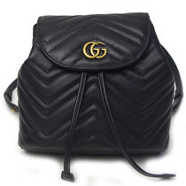 GUCCI GG Marmont Other Check Patterns Chain Leather Purses Elegant Style