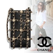 CHANEL Lambskin Studded Chain Plain Accessories