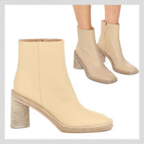 Acne Square Toe Casual Style Plain Leather Block Heels