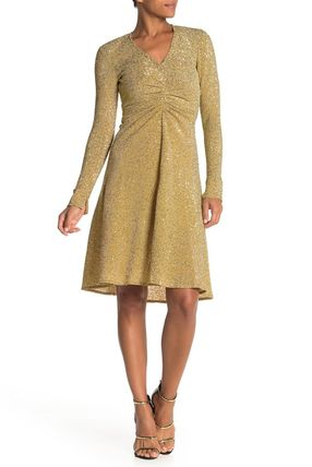 Donna Morgan A-line V-Neck Long Sleeves Medium Party Style Dresses