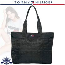 Tommy Hilfiger Monogram Casual Style Nylon A4 Totes