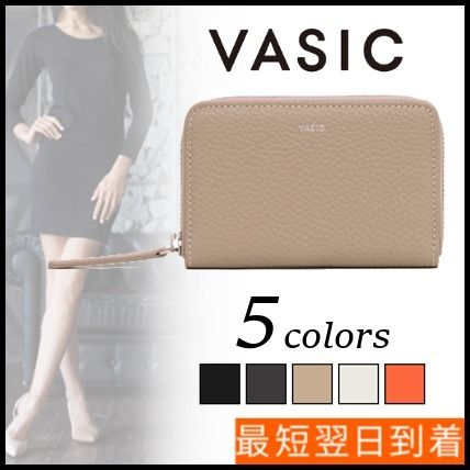 Plain Leather Long Wallet  Small Wallet Logo Accessories