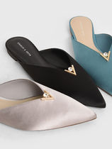 Charles&Keith Faux Fur Plain Elegant Style Heeled Sandals