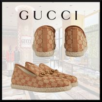 GUCCI Monogram Wedge Round Toe Casual Style