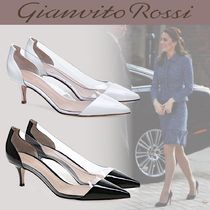 Gianvito Rossi Casual Style Enamel Blended Fabrics Plain Leather Pin Heels