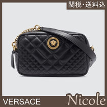 VERSACE Casual Style Chain Plain Leather Party Style Elegant Style