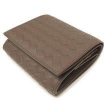 BOTTEGA VENETA Unisex Plain Leather Folding Wallet Folding Wallets