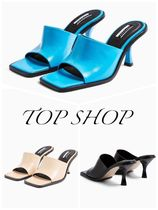 TOPSHOP Casual Style Plain Leather Pin Heels Sandals Sandal