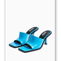 TOPSHOP Casual Style Plain Leather Pin Heels Mules Sandals