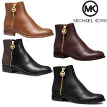 Michael Kors Round Toe Rubber Sole Casual Style Plain Leather Party Style