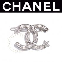 CHANEL ICON Barettes Casual Style Blended Fabrics Street Style Leather