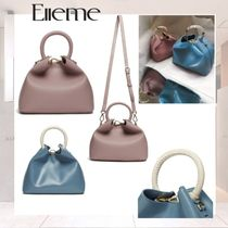 elleme Casual Style Leather Shoulder Bags