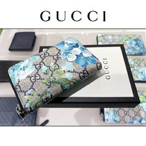 GUCCI Flower Patterns Unisex Leather Long Wallet  Logo Coin Cases