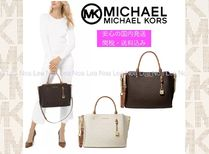 Michael Kors Monogram 2WAY Leather Office Style Elegant Style Satchels