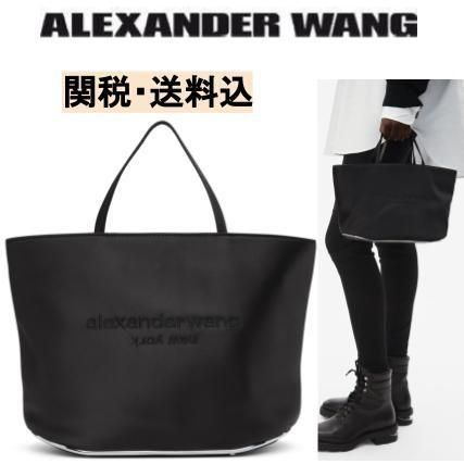 Casual Style Plain Office Style Logo Totes