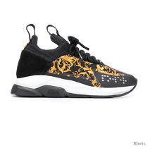 VERSACE Round Toe Rubber Sole Lace-up Casual Style Blended Fabrics