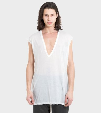 RICK OWENS V-Neck Plain Cotton Short Sleeves Designers V-Neck T-Shirts
