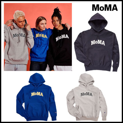 MoMA Hoodies Pullovers Unisex Street Style Long Sleeves Plain Cotton Logo