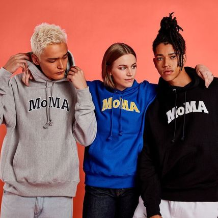 MoMA Hoodies Pullovers Unisex Street Style Long Sleeves Plain Cotton Logo 2
