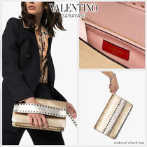 VALENTINO Blended Fabrics Studded Bi-color Plain Leather Party Style