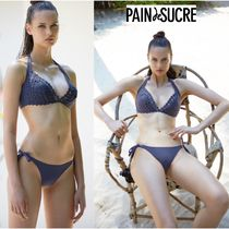 PAIN de SUCRE Plain Halter Brazilian Lace Up Bikinis