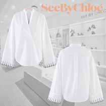See by Chloe Dots Casual Style Long Sleeves Plain Cotton Shirts & Blouses