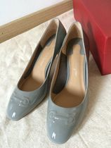 Salvatore Ferragamo Round Toe Plain Leather Pin Heels Party Style Office Style